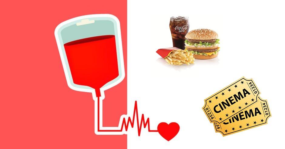 Mc Menú mediano Big Mac GRATIS entradas de cine rebajadas+otros descuentos donando sangre CC El Saler Valencia