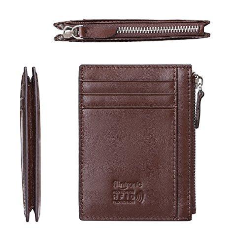 Cartera Tarjeta de Crédito, Slim Billetera Hombre de Piel Auténtica, Mini Monedero con Cremallera para ID