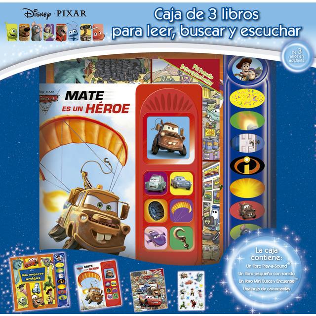 Caja 3 libros lee busca y juega disney pixar rlp