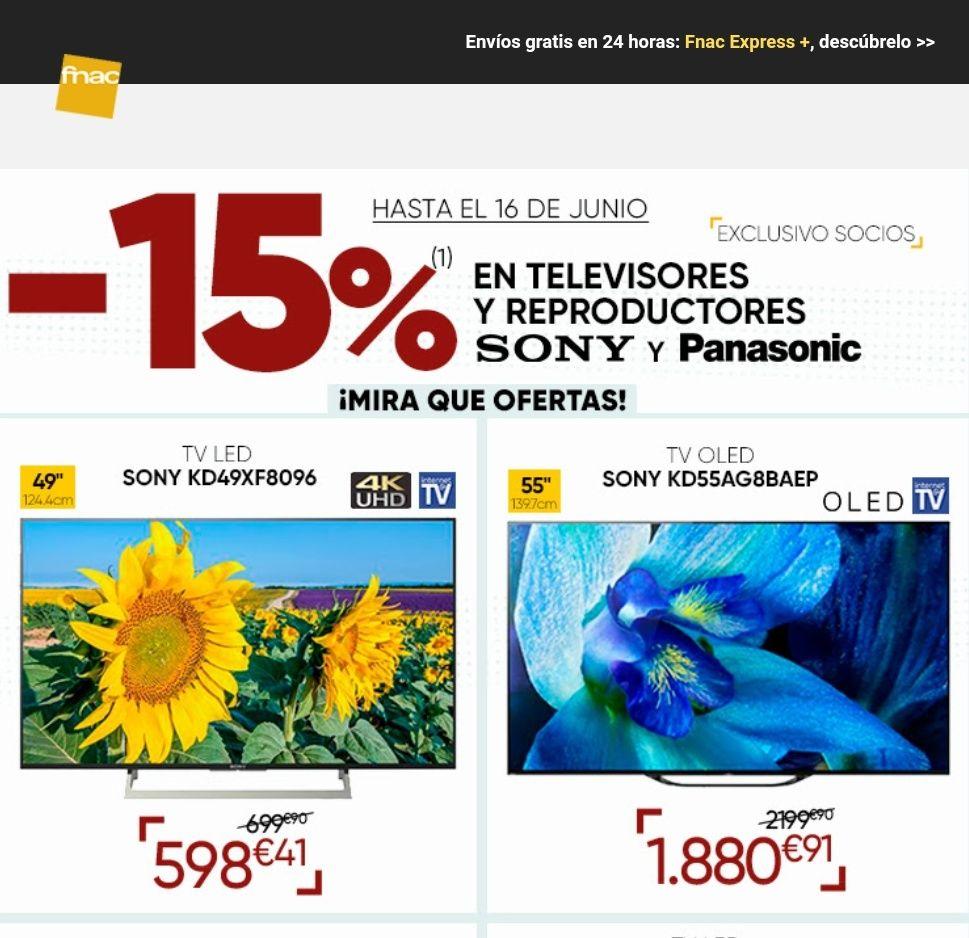 -15% de descuento en TV Sony y Panasonic [fnac]