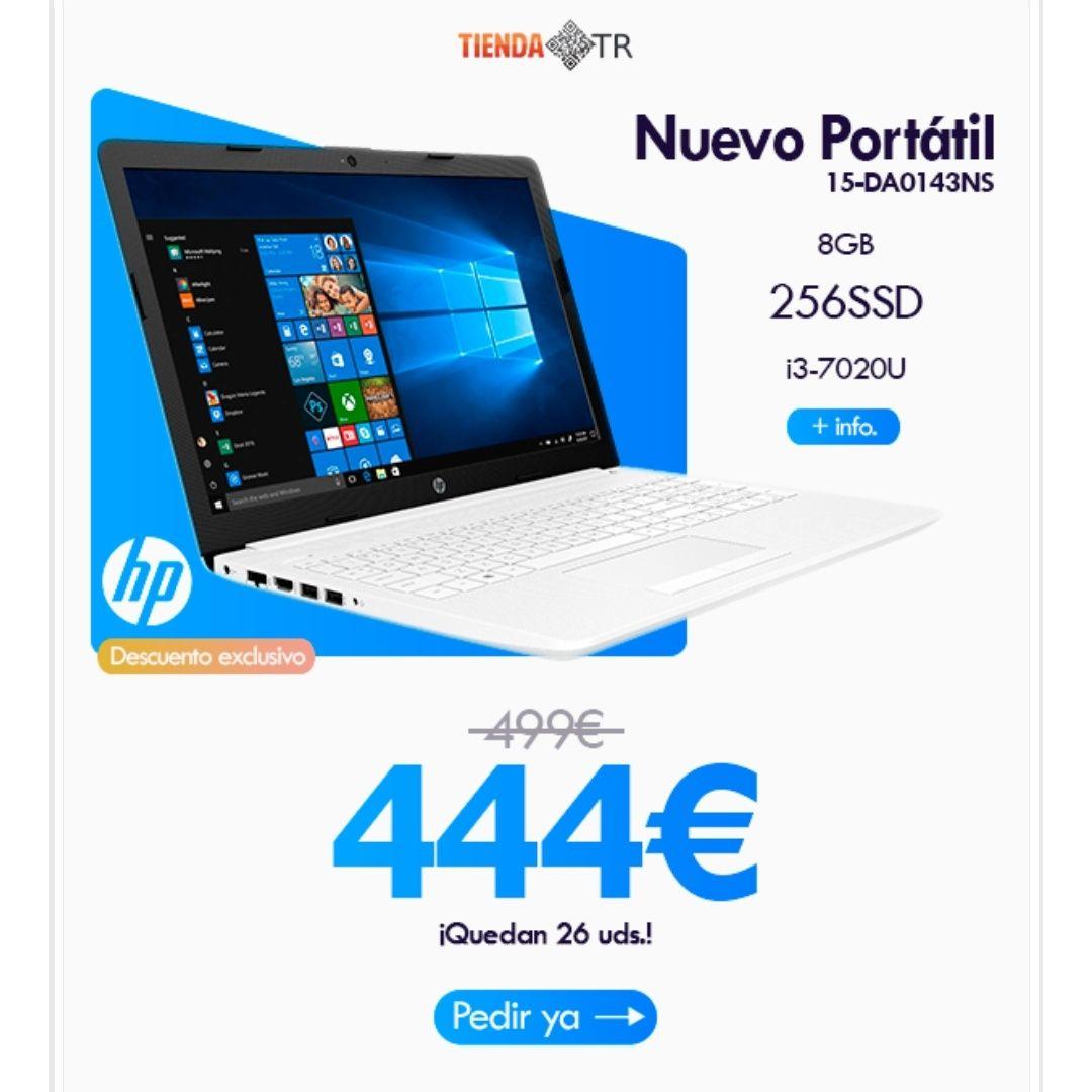 """(Solo Hoy) Portatil HP i3-7020U 8GB 256GB SSD 15.6"""" W10 Blanco Nieve (15-DA0143NS) 1.7kg"""