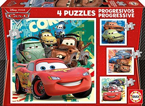 4 Puzzles infantiles progresivos de cars de 12,16, 20 y 25 piezas