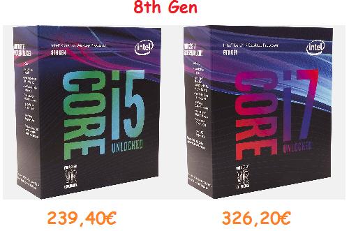 Precios mínimos en procesadores Intel Core de octava generación