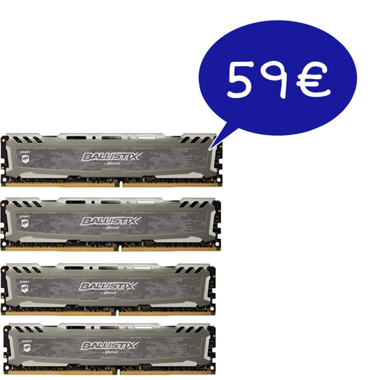 4x Ballistix Sport 4GB 2400 MT/s CL16 por menos de 60€