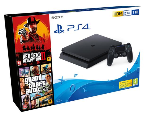 Consola - PS4 Slim de 1 TB + Red Dead Redemption 2 + Grand Theft Auto V