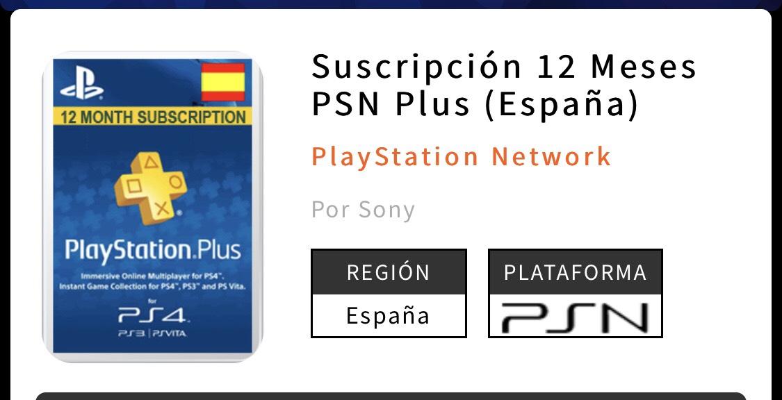 Suscripción 12 Meses PSN Plus (España)
