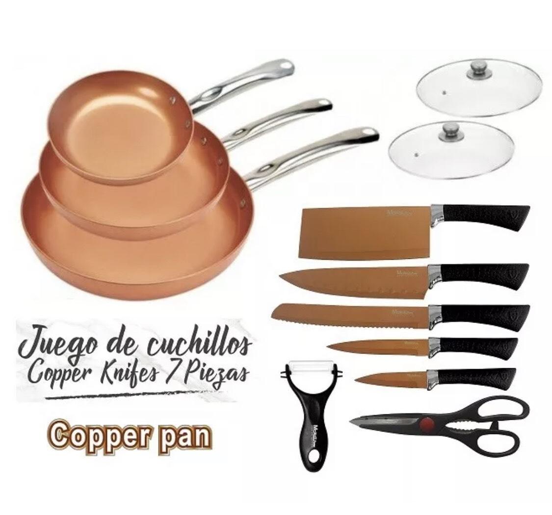 Juego de sartenes, tapas, cuchillos, tijeras y pelador