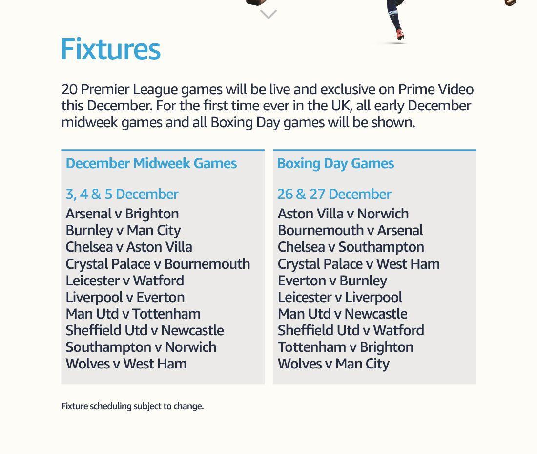 20 partidos de Premier League gratuitos en Diciembre