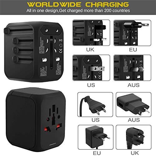 Adaptador Enchufe de Viaje Universal con Cuatro Puertos USB para US UK AU EU