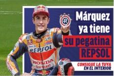 Pegatina Repsol con el diario Marca (sólo hoy 14 de junio)