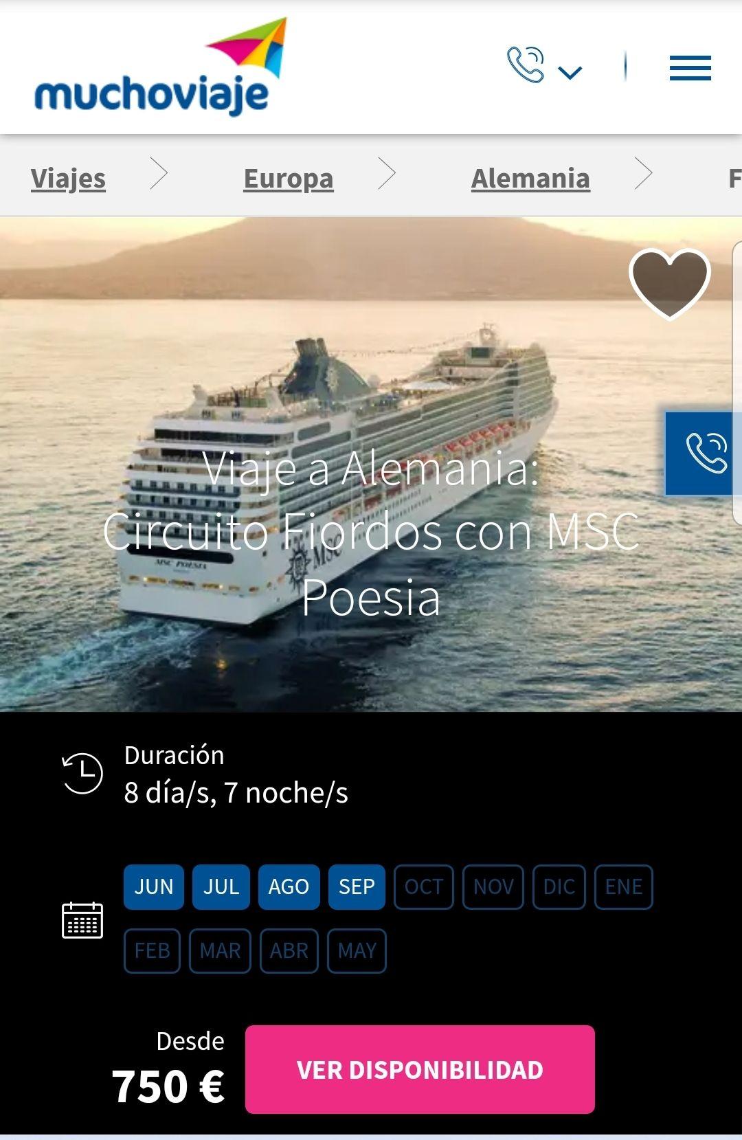 Crucero por los fiordos a 750€/persona
