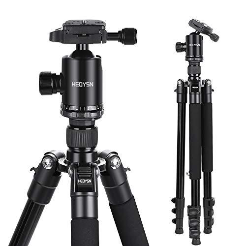 Trípode compacto cámara réflex, HEOSYN 165cm. Aluminio con Rótula de Bola. Placa Rápida Liberación.