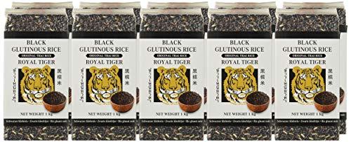 Royal Tiger Arroz glutinoso negro - Pack de 10 x 1.000 gr - Total: 10 Kg.