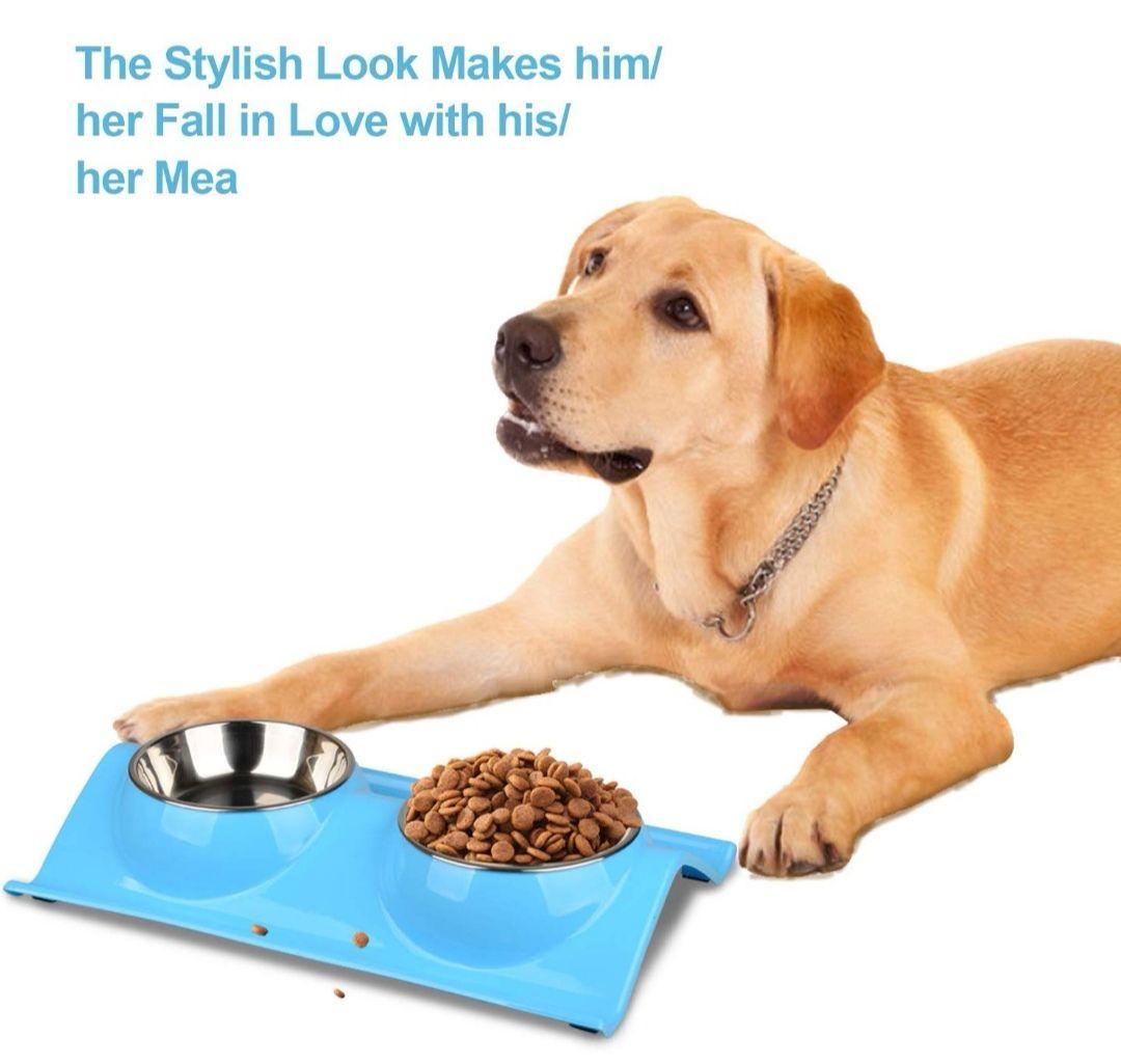 Comedero para perro o gato de acero inoxidable con doble cuenco