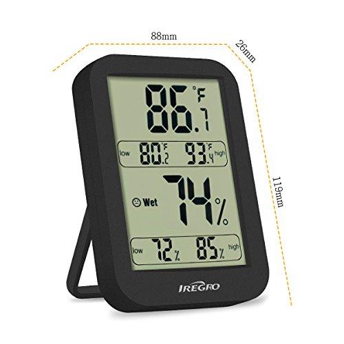 Estación Meteorológica IREGRO Termómetro Higrómetro 4.68'' × 3.46'' pantalla de LCD grande 2 en 1 Termómetro Digital inalámbrico ℃ / ℉ de conmutación. Higrómetro y Monitor para exteriores con indicador de temperatura. Medidor de humedad.