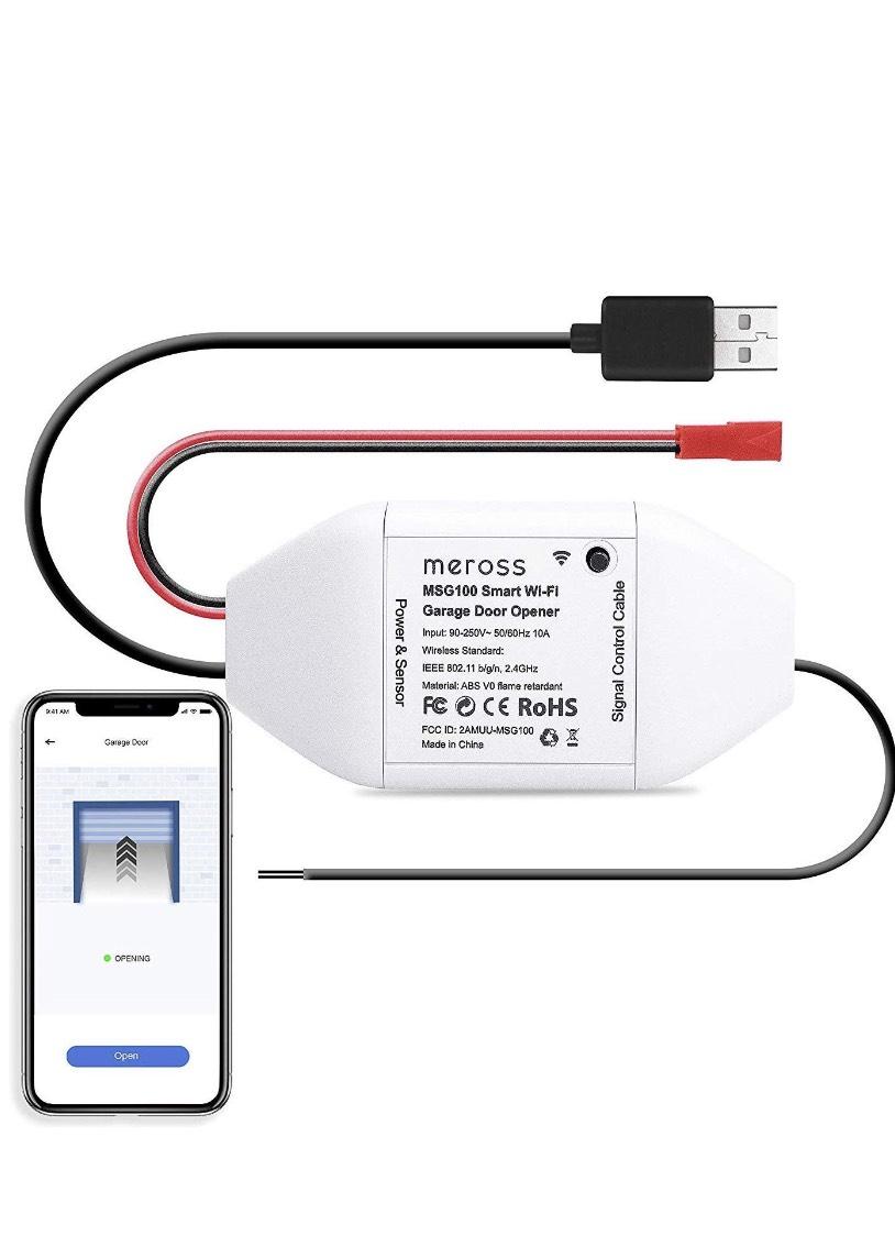 Abridor de Puertas de Garaje Inteligente Wi-Fi, Controlador, Compatible con Alexa, IFTTT, MSG100EU, meross