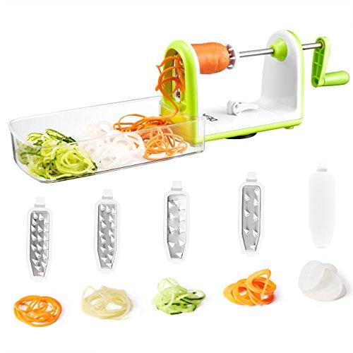 Espiralizador Verduras DEIK, Cortador de Verduras, Rebanadora Vegetal Plegable, Rebanadora Espiral Resistente con 5 Cuchillas Desmontables