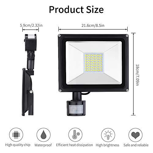 Foco LED 30W blanco cálido con detector de movimiento, IP65 impermeable