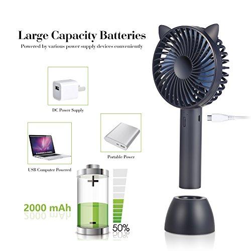 Mini ventilador portátil, recargable USB  turbo ajustable con 3 velocidades