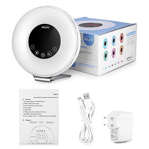 Despertador de Luz, con 7 Colores Ajustables, 7 Sonidos Naturales y 10 Intensidades de Luz, Radio FM, Control Táctil, Función de Snooze, Simulación de Amanecer y Atardecer, Cargador de USB