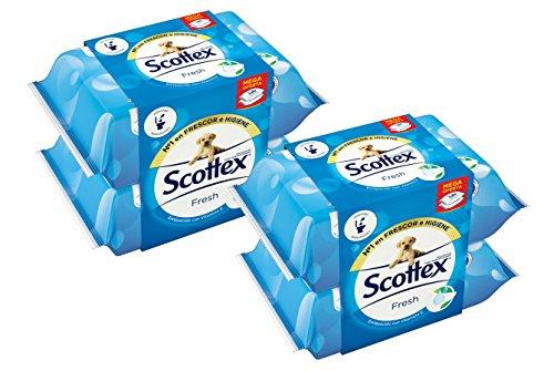 Scottex Fresh Papel Higiénico Húmedo - Pack de 4 x 80 servicios PLUS