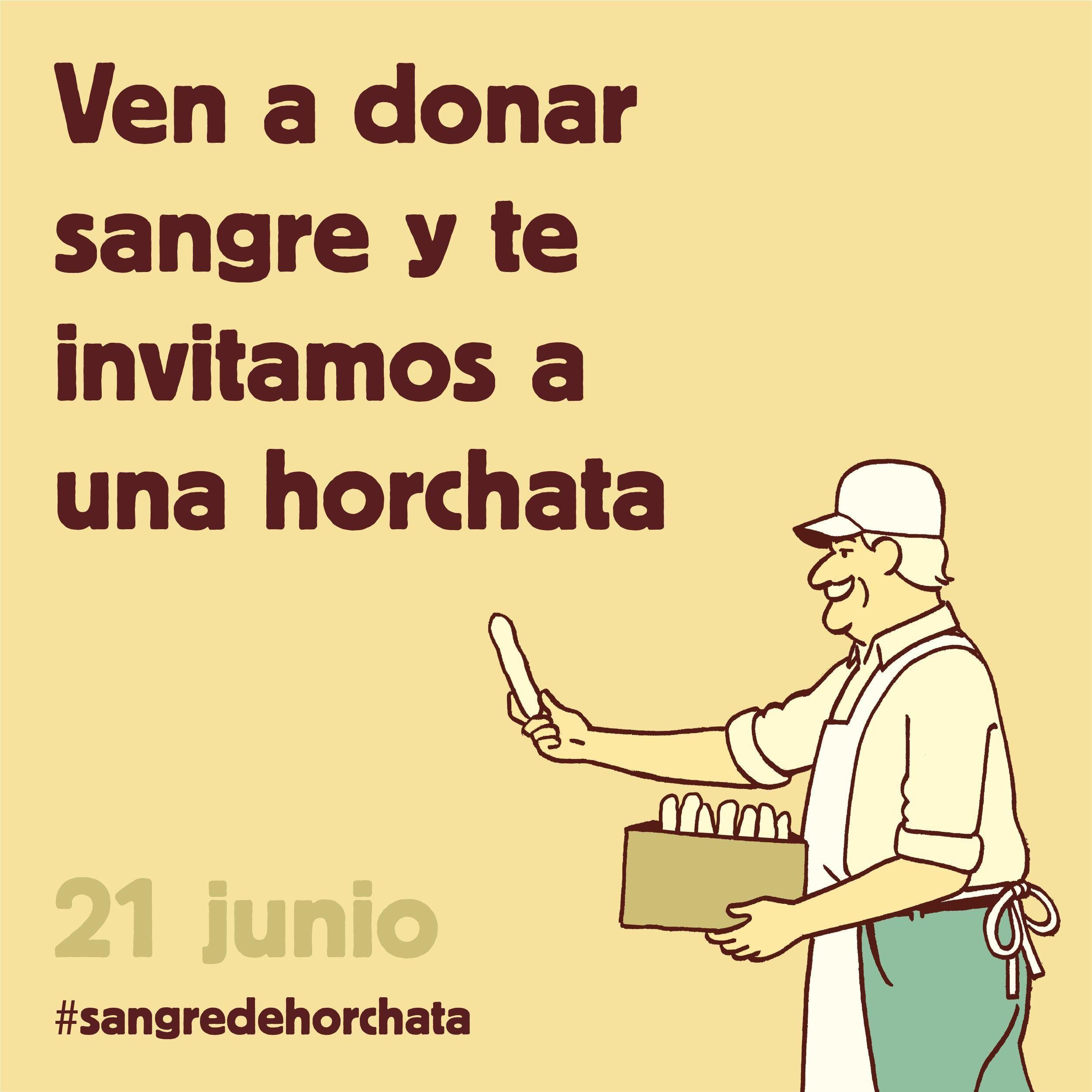 Horchata con fartons si donas sangre el día 25 y 29 de Julio (Valencia)