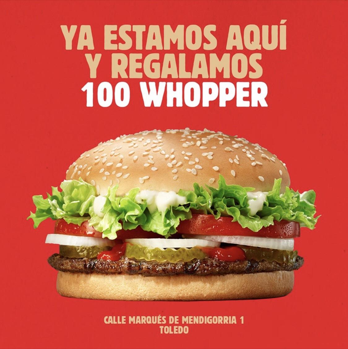 Whopper GRATIS en Toledo (Burger King)