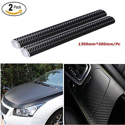 Audew Pegatinas 3D Carbono Negro Pack 2 Fibra de Vinilo Adhesiva Para Coche Moto Móvil Prueba de Agua
