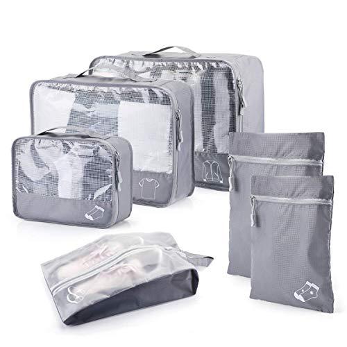 Organizador de Equipaje Impermeable, 6 Set de Organizador de Viaje para Maletas con Bolsa de Almacenamiento Transpirable para Zapatos.