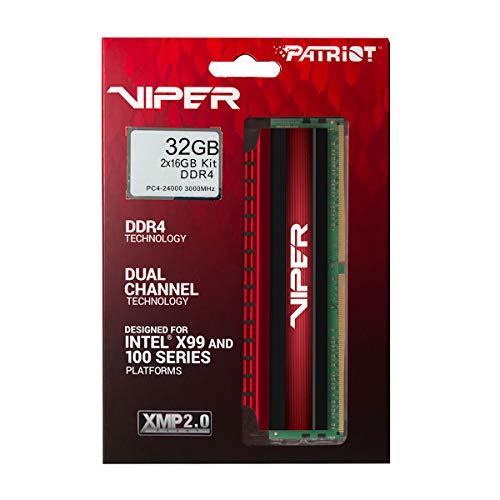 Patriot Viper 32GB 3000MHz (32 GB, 2 x 16 GB, DDR4, 3000 MHz, 288-pin DIMM, Negro, Rojo)