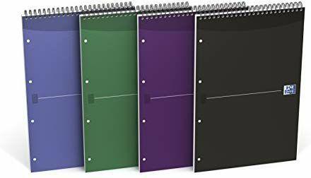 Oxford Essentials–Lote de 5y blocs de notas con 4agujeros y 80hojas A4+, colores surtidos