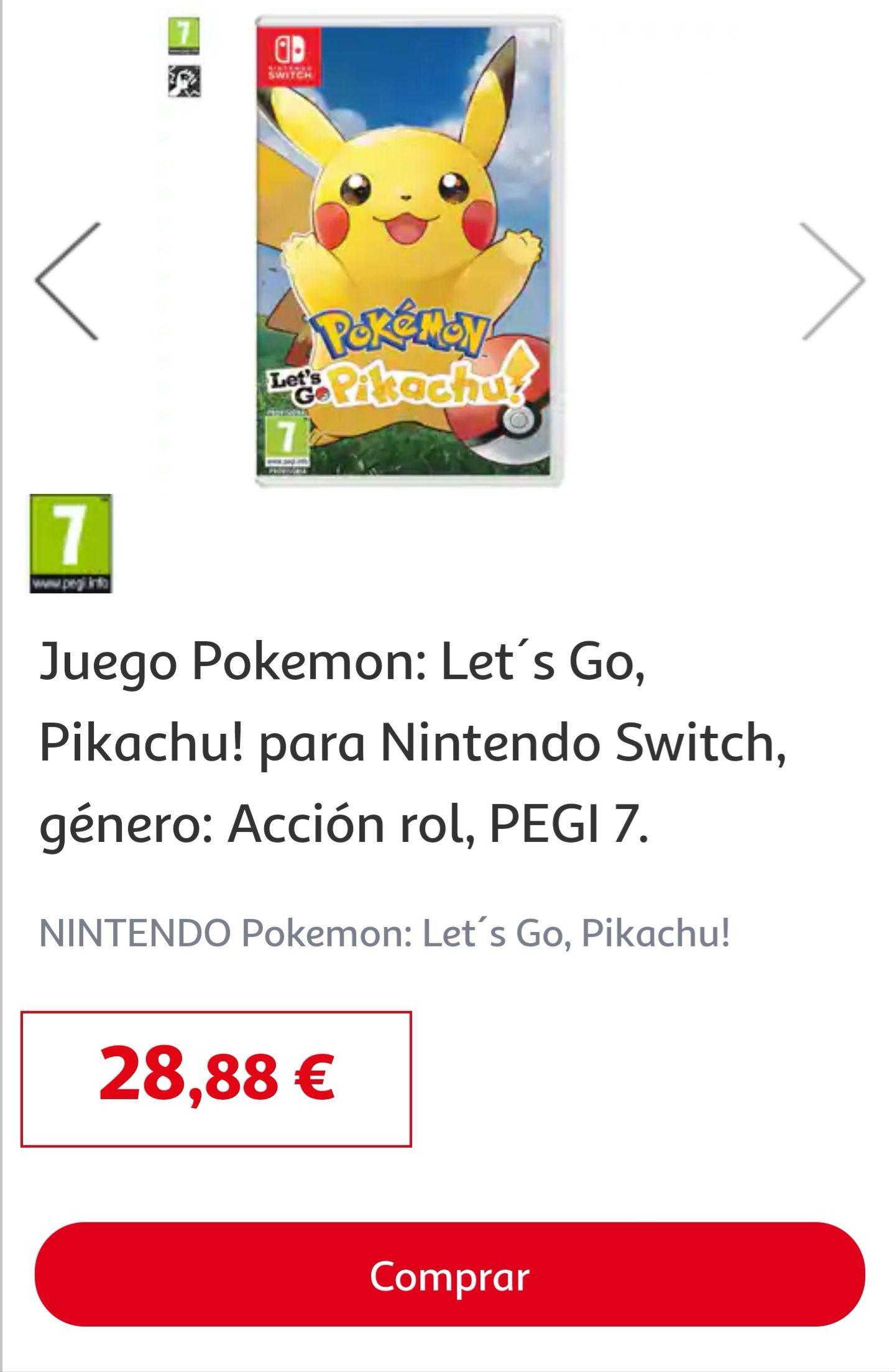 Nintendo Switch Pokémon Let's go Pikachu o Eevee en Alcampo Alicante