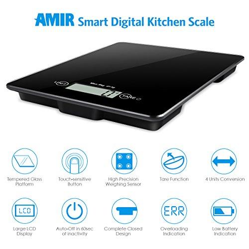 Básculas de cocina, Digital Cocina y Escala del alimento 5kg, Modos de 4 unidades, Profesional de diseño,