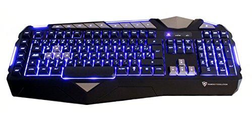 Teclado gaming de membrana- (Personalización total,Retroiluminación LED, perfiles múltiples, teclas macro, respuesta ultra rápida, capacidad anti-ghosting ) Color Negro