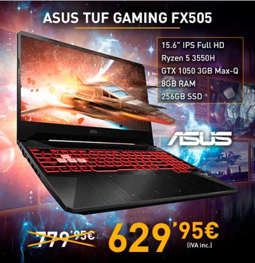 """ASUS 15.6"""" FHD / R5 3550H / 8 o 16GB / 256GB NVME / NEW GTX 1050 3Gb Max-Q / CONFIGURABLE A MEDIDA"""