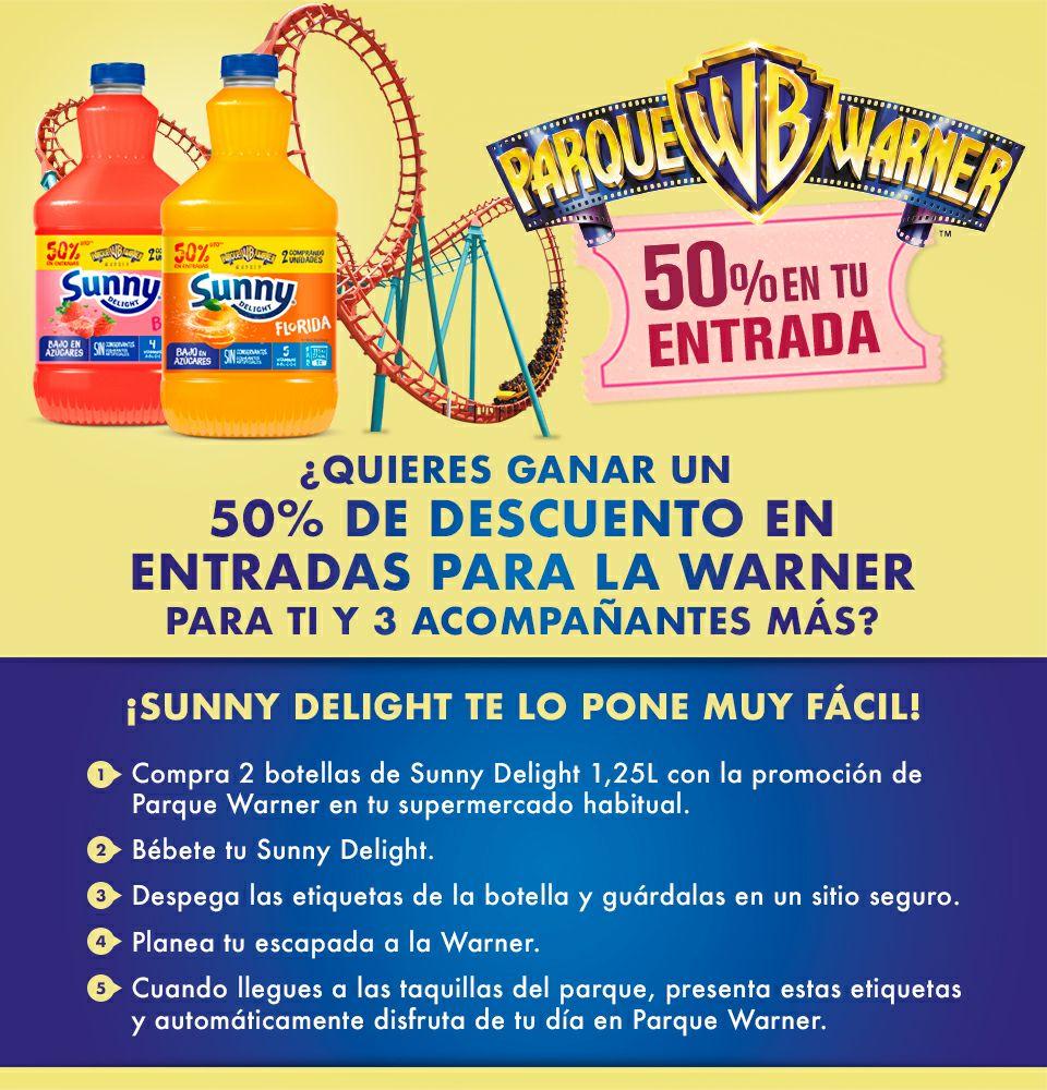 50% Descuento en Parque Warner al entregar 2 Etiquetas de Sunny 1'25L