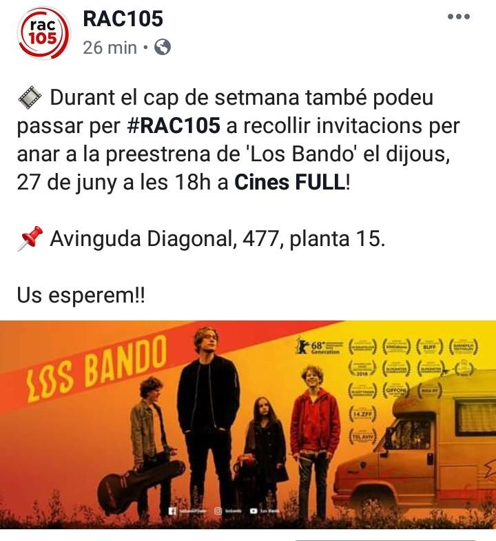 """Entradas GRATIS preestreno """"Los Bando"""" (27/06 BCN)"""