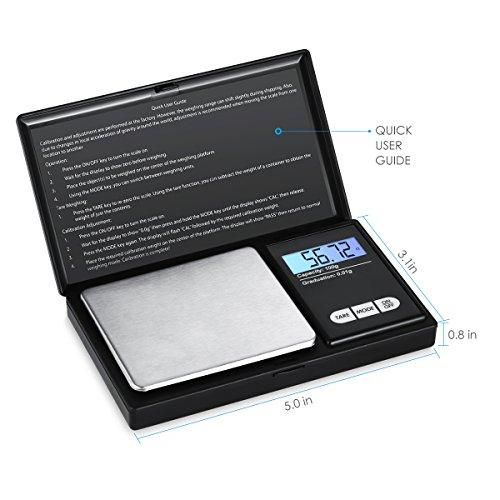 Báscula portátil, 200 g/0,01 Báscula Digital Industrial, Digital, gramos – Báscula, monedas de oro, con luz de fondo de la pantalla LCD y función de tara
