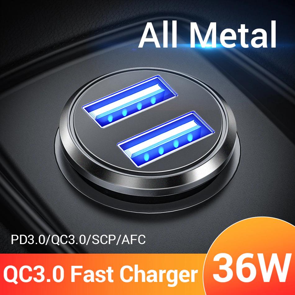 Cargador de coche FIVI 36 W Metal Dual USB Quick Charge QC 3
