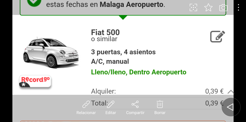 Alquiler de coche 1 semana en Malaga