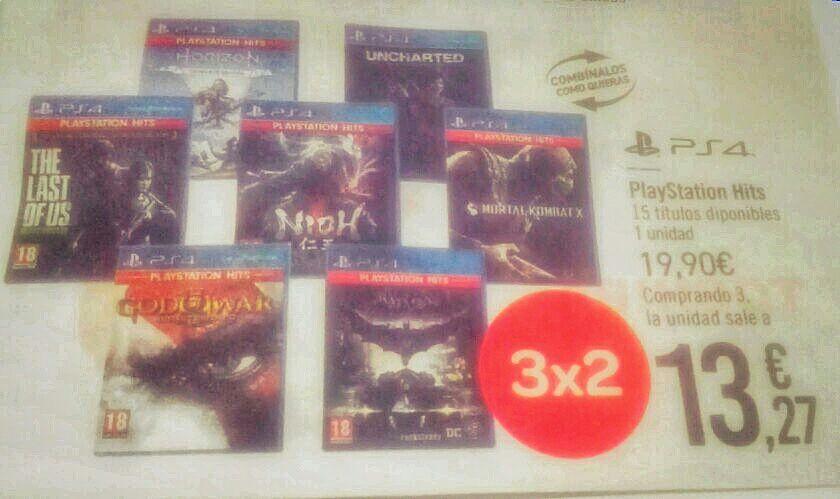 3x2 juegos Playstation Hits en Carrefour