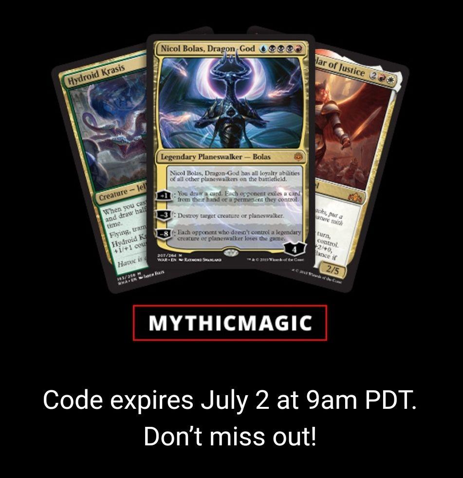 3 Cartas Míticas Magic Arena