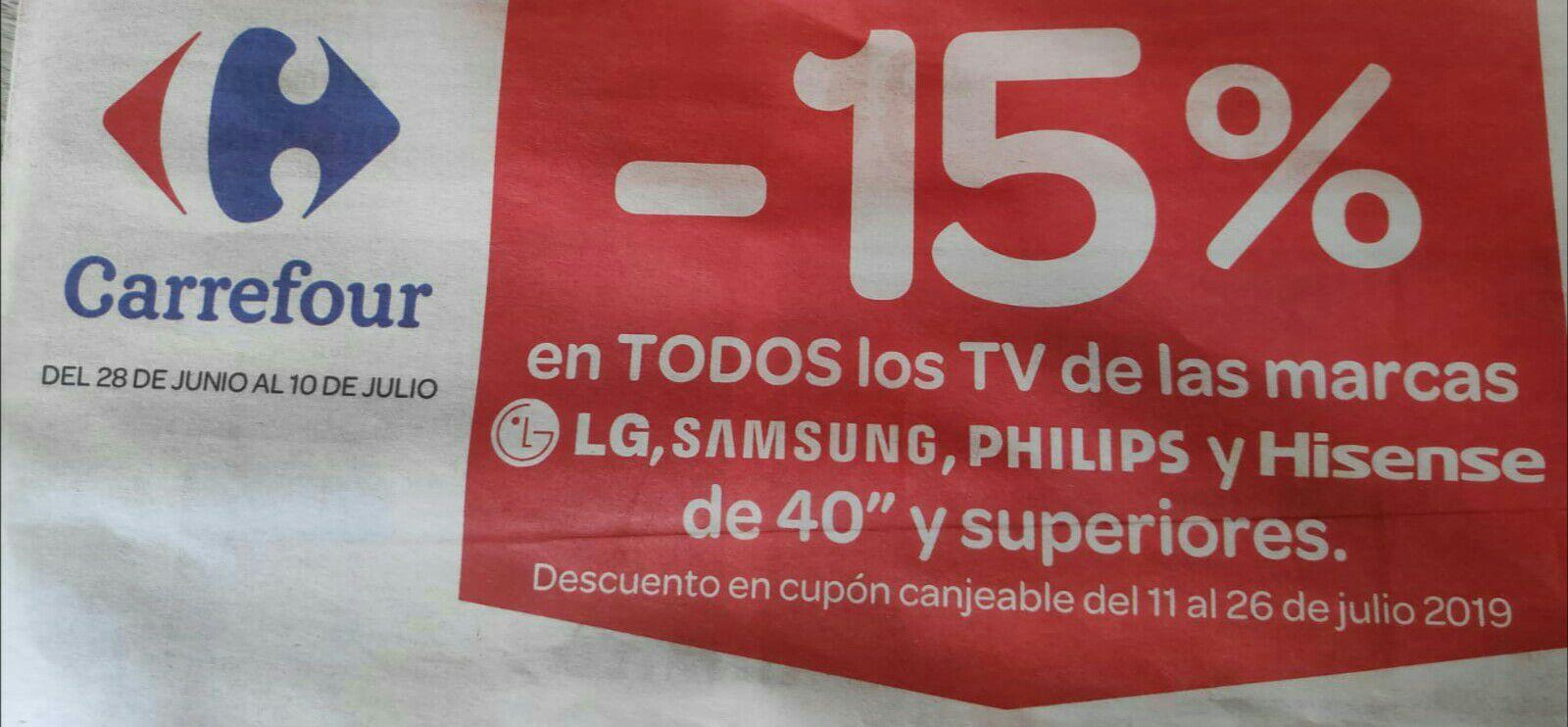 """-15% en cupones por Tvs Samsung, LG, Philips, Hisense de 40"""" o más"""