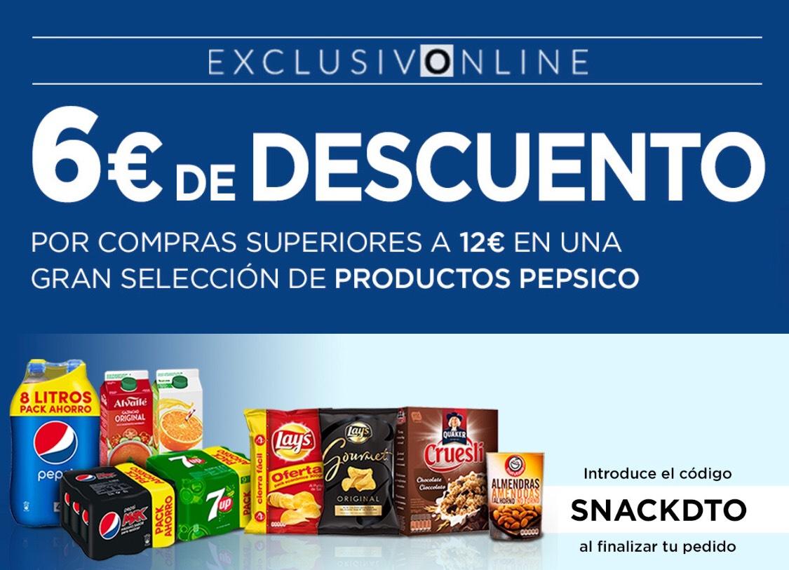 6€ descuento por comprar 12€ en productos Pepsico. ECI e Hipercor