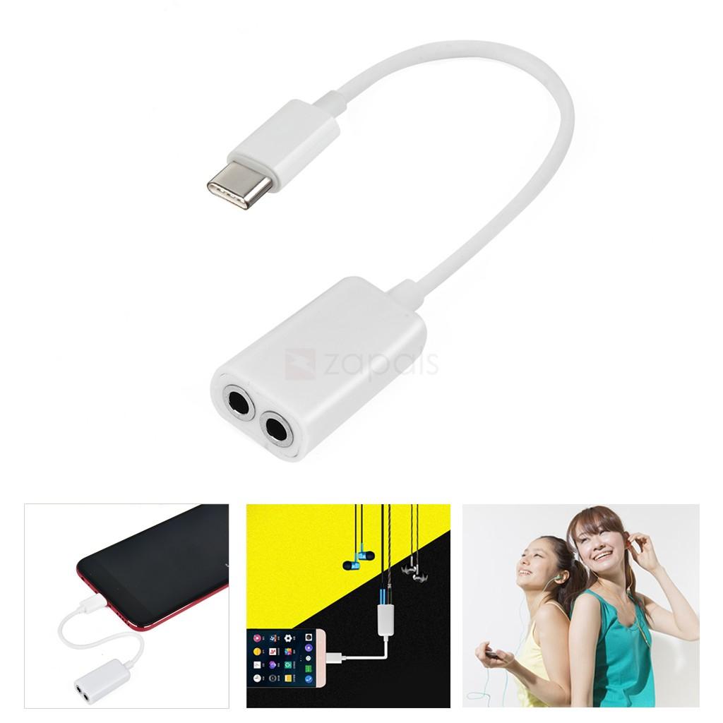 Adaptador salida doble jack 3.5 USB Tipo C