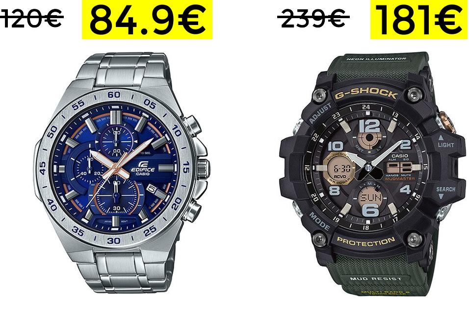 Casio Edifice por 84.9€ // Casio G-Shock analogico + dig 181€