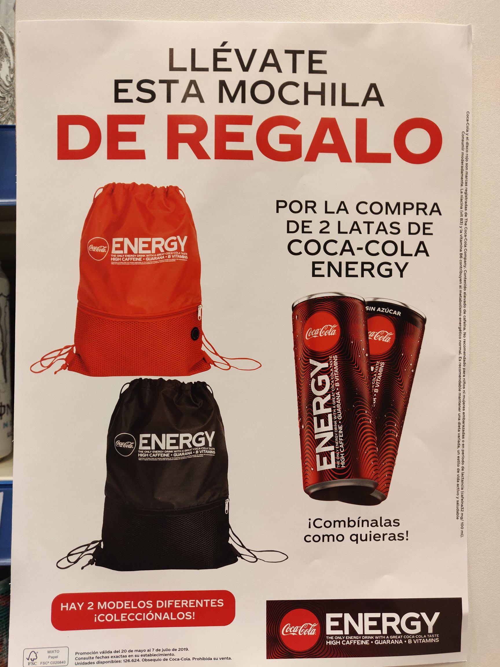 Mochila gratis por 2 latas de Coca Cola Energy
