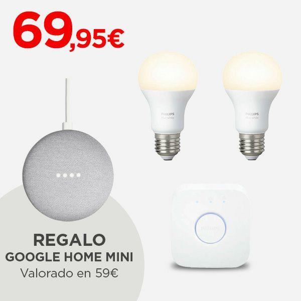 Kit iluminación Philips HUE White + Google home mini de regalo