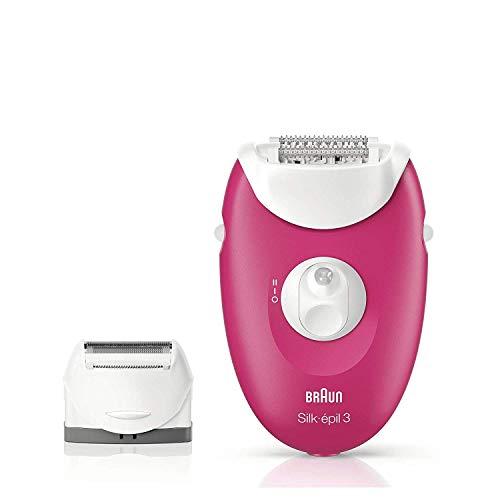 Braun Silk-épil 3 3-410 - Máquina de depilar con 3 extras, color frambuesa