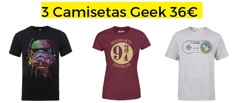 3 Camisetas Geek A Elegir solo 36€